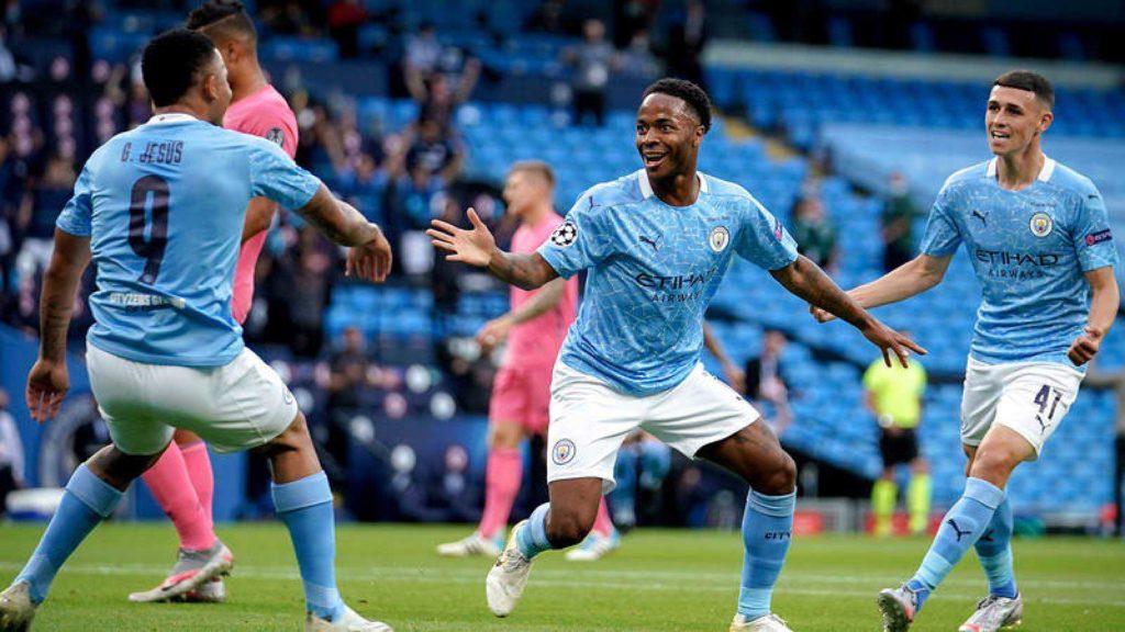 El Manchester City celebra un gol de Sterling la pasada Champions.