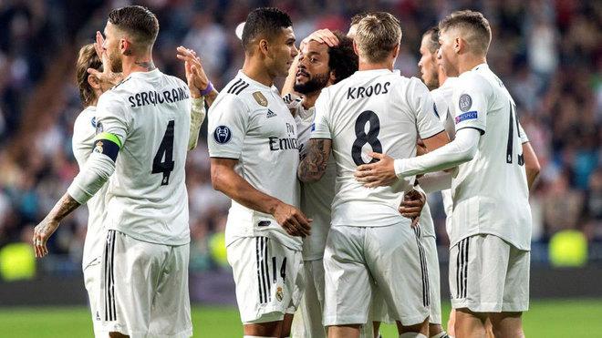 El Real Madrid celebrando un gol en la Champions League 2018.