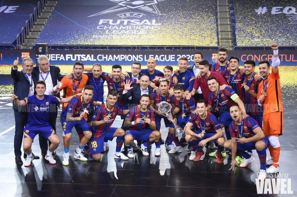 Plantilla del Barça ganadora de la Uefa Futsal Champions League 2020.
