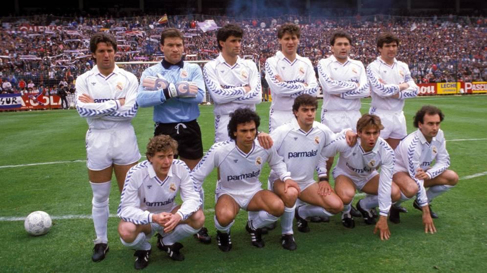 """La """"Quinta del Buitre"""" temporada 89/90.  Chendo, Buyo, Míchel, Tendillo, Gordillo, Camacho, Butragueño, Hugo Sánchez, Sanchís, Martín Vázquez y Gallego"""