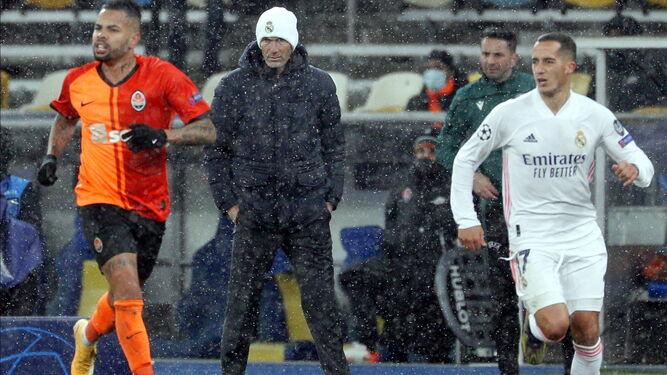 Zinedine Zidane, durante el partido contra el Shakhtar Donetsk.