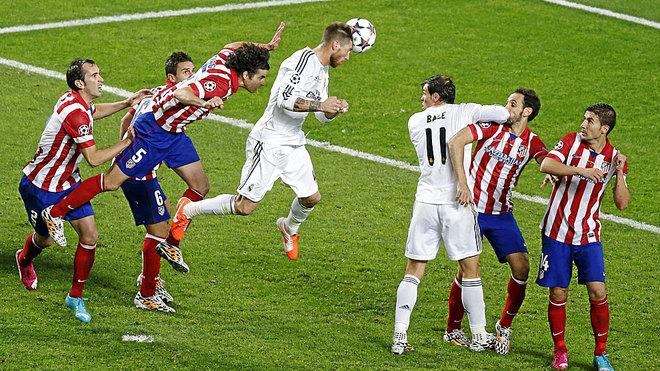 Gol de Ramos en la final de la UEFA Champions League 2013-2014 con el dorsal 4 a la espalda.  Fuente: Marca