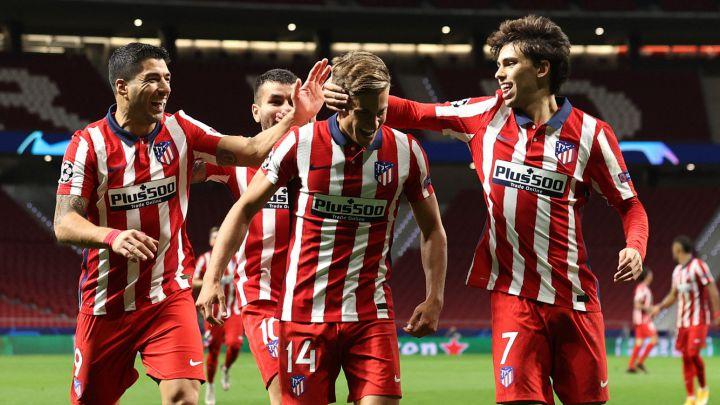 Luis Suárez, Llorente y Joao Félix celebran un gol del Atlético de Madrid en el Wanda. Fuente: Ángel Martínez