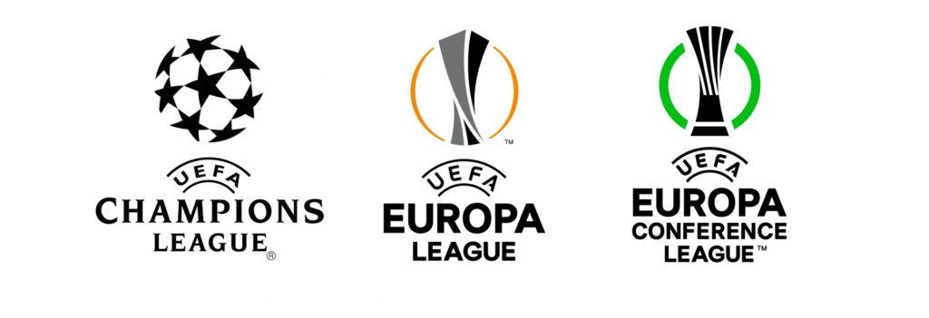 Las tres competiciones UEFA por orden de competitividad. UEFA Champions League, UEFA Europa League y UEFA Conference League.