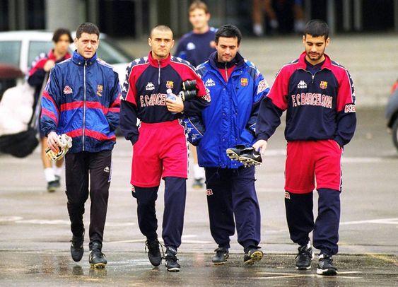 Carlos Busquets, Luís Enrique, José Mourinho y Josep Guardiola. Año 1996. Fuente: Pinterest