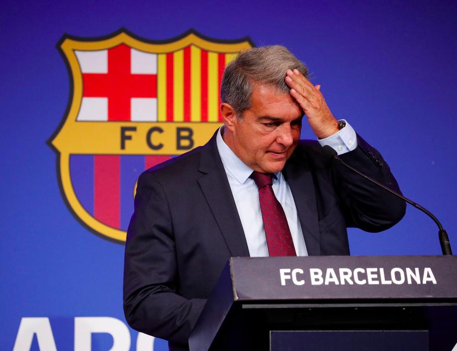Joan Laporta durante la rueda de prensa de hoy, en el adiós de Messi. Fuente ARA.